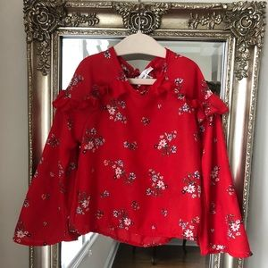 GIRLS | Floral Bell Sleeve Blouse, size xxs/3T